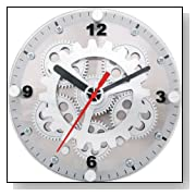 Table/Wall Moving Gear Clock w/Glass Cover