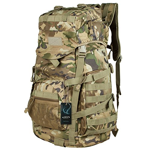 G4Free 50L Military Tactical Backpack Hiking Camping Traveling Unisex Outdoor Weather Resistant Mountain Climbing Bag(CP Camouflage)