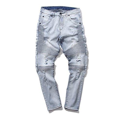 Feinste Men's Slim Fit Distressed Denim Biker Jeans (32W, Light Blue) (Jeans Blue Light For Men compare prices)