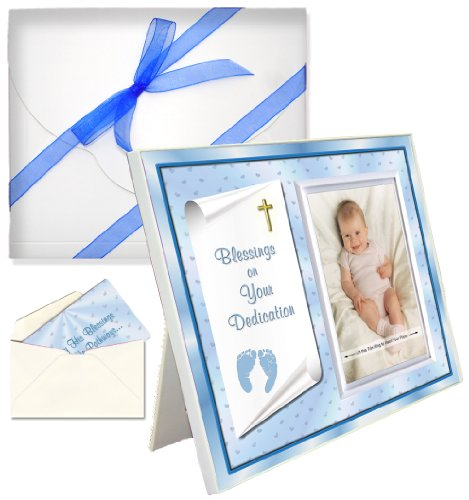 "Baby Blessing Dedication Picture Frame Gift ""Blessings on Your Dedication"" - Boy"