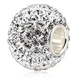 Ollia Jewelry Brithstones Austrian Crystals Studded Large Size Round Ball Charm with 925 Sterling Silver Single Core (White)