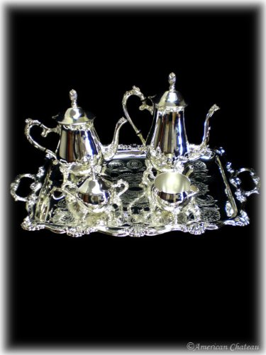 NEW 5PC Silver Plated Tea / Coffee Server Set with Tray