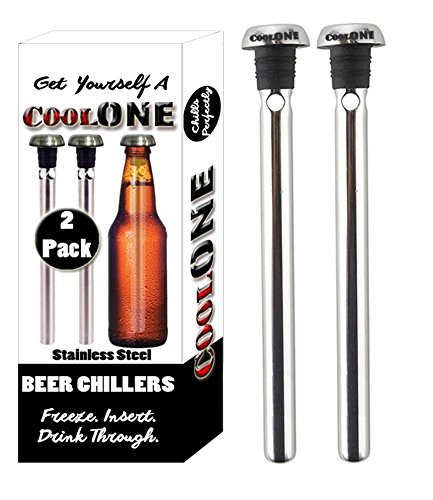 Cool One Beer Chiller - Beverage Cooling Sticks - Keep Your Beers Cold Longer With Beer Coolers! Unique Father's Day & Christmas Gifts For Dad! (Gift Set Of 2 Coolers) (Amazon Gifts For Men compare prices)