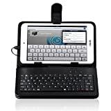 Ployer MOMO7W ケース【選べる4色】【IVSO®】 Ployer MOMO7W (7インチ タブレット兼用)キーボード付きケースmicroUSB 端子 接続のキーボード PUレザーケース内蔵型 薄くて軽い スタンド付き 東芝TOSHIBA Tablet AT7-B618, 原道 N70S, 原道 N70 3G,Lenovo IdeaPad Tablet A1, Letine LT701A, ASUS Nexus7 ( 2013 ),ASUS Memo Pad 7 ME572C / ME572CL, ASUS ME173, ASUS ME176, ASUS ME170, Huawei MediaPad 7 Liteなど7インチAndroid/ WindowsタブレットPC兼用 (ブラック)