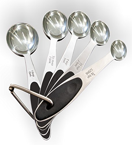 Superior Measuring Spoon Set - 5 Pieces on 1 - Stainless Steel Engraved - USA and Metric Sizes.