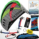 Prism Tensor 3.1 Power Foil Kite (Blue) 3-Line Control Bar Traction Trainer Bundle:... by