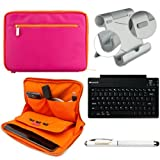 Faux Leather Carrying Bag Sleeve Case For Dell Latitude 10 Windows 8 10.1 inch Tablet + Includes Bluetooth Keyboard + Metal Stand + Stylus Pen