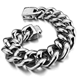 Justeel Men Large Stainless Steel Bracelet Bangle Chain Heavy Biker Silver (with Gift Bag) (Width: 0.98