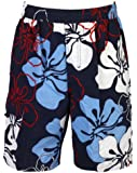 Olibia Mar: modern boys swimming shorts with florall pattern in blue or red