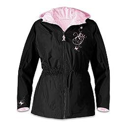 The Bradford Exchange Breast Cancer Support Women\'s Jacket: Ribbons Of Hope Medium Black