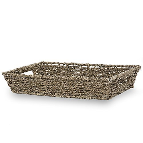 The Lucky Clover Trading Coffee Rectangular Seagrass Tray Basket, 14