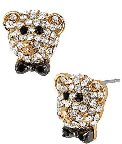 Betsey Johnson Jewelry Day At The Zoo Pave Bear Stud Earrings front-878862