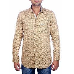 Aaduki Men's Casual Brown Shirt-XL