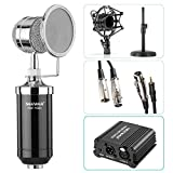 Neewer® NW-1500 Microphone Kit: (1)Microphone with Iron Desk Stand, Shock Mount and Pop Filter+(1)48V Phantom Power Supply with Adapter+(1)Audio Input Cable+(1)Mic Cable 1/4