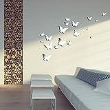 Wuiyepo 20pcs Papillon Miroir 3D Stickers muraux bricolage Décoration moderne...