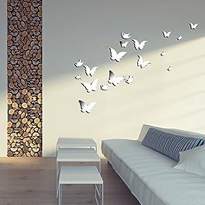 Wuiyepo 20pcs farfalla specchio 3d wall stickers diy della - Decorazioni pareti 3d ...