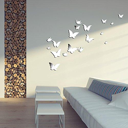 Wuiyepo 20pcs papillon miroir 3d stickers muraux bricolage for Miroir decoratif a coller