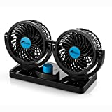 Moobom Dual Head Car Auto Cooling Air Fan 2-in-1 Air Circulator Powerful Wind Quiet Ventilation 360 Degree Rotation with Kids Safe Design Black