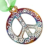 Filigree Peace Symbol Ornament with Ribbon