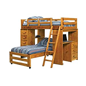 Twin Over Twin L Shaped Bunk Bed With Desk End Amazon Co