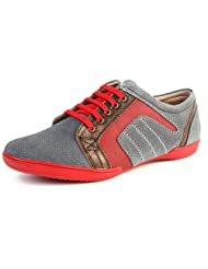 Valentino Men's Grey Leather Casual Shoes - 7