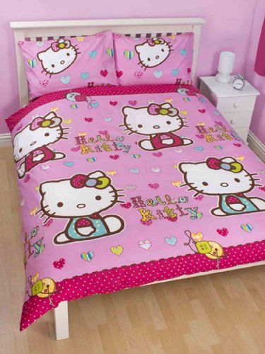 parure housse de couette linge de lit double 2 personnes hello kitty folk 200 x 200 burnirety. Black Bedroom Furniture Sets. Home Design Ideas