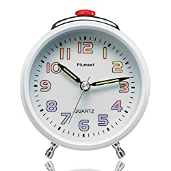 Plumeet 4-Inch Silent Non-Ticking Built-in Bell Loud Alarm Clock with Night Light, Awesome Colorful Numbers & Luminous Hands, Battery Operated (White)