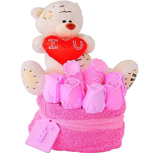 Baby Shower Gift Ideas for Girls - Unique It's a Girl Newborn Birth Cake Kit - Premium Scented Girly Handmade Soaps Roses, Shoes, Bear and Towel Present Set