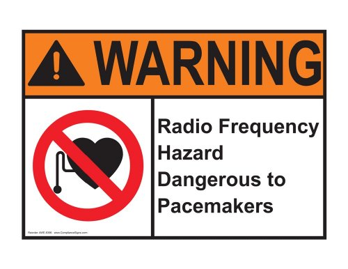 Compliancesigns Vinyl Ansi Warning Label, 5 X 3.5 In. With Mri / X-Ray / Microwave Info In English, 4-Pack White