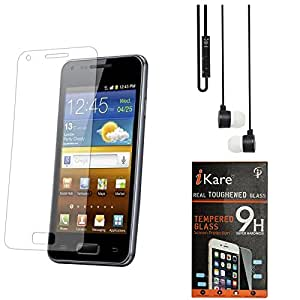 iKare Pack of 12 Tempered Glass for HTC Desire 620G + Black Stereo Earphone with Mic and Volume Control