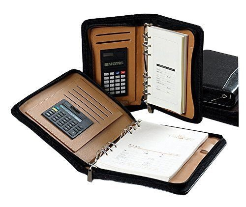 a5-black-zipped-pu-leather-conference-folder-portfoliopersonal-organiserfree-calculator