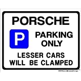 PORSCHE Parking Sign - Gift for 911 924 944 928 carrera car models - Extra Large Size 205 x 270mm by Custom (Made in UK) (All fixing included)