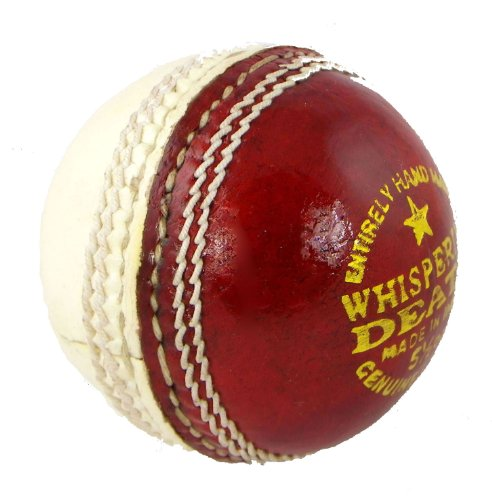 Upfront Qvu Whispering Death Leather Cricket Ball. 4 Piece half white half red. Alum tanned leather hand made. JUNIOR 4.75oz