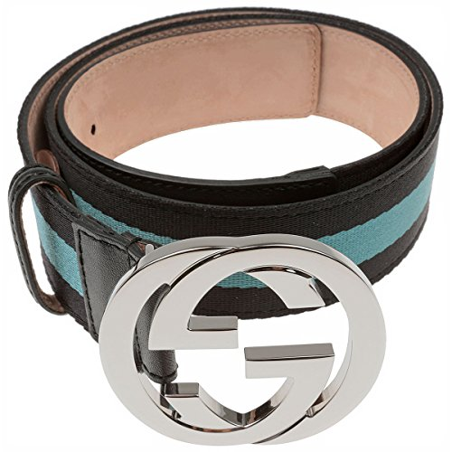 Gucci Interlocking GG Logo Blue Stripped Canvas and Leather Belt Size 36 Model 114876