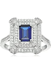 Sterling Silver Created Blue Sapphire Ring, Size 7