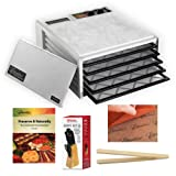Excalibur 5 Tray Dehydrator with Timer (White) + Preserve It Naturally Book + Paraflexx Premium Reusable Sheet 14X14 + Knife Set 7PC with Pine Block + Bamboo Toast Tong - 6.5 Inch Long