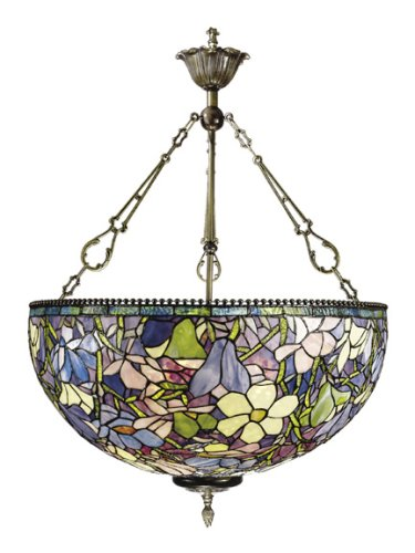 B000MR7JCS Dale Tiffany 1051/3LTH Magnolia Pendant Light, Antique Brass and Art Glass Shade
