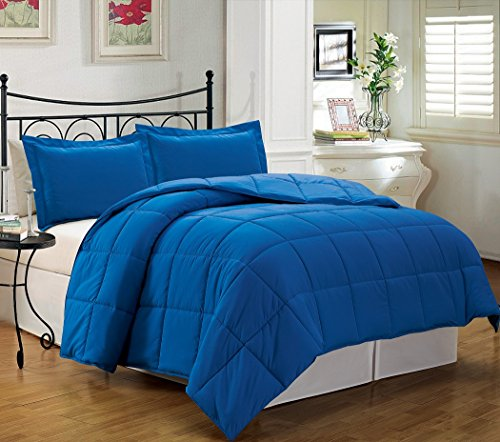 Buy Bargain Chezmoi Collection 3-piece Down Alternative Comforter Set, Queen/Full, Royal Blue