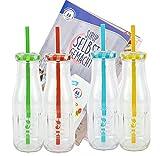4-er Set Glasflaschen mit Deckel und Trinkhalm inkl. Rezeptheft -