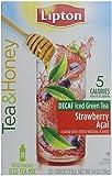 Lipton To Go Stix Decaf Iced Green Tea Mix, Tea and Honey, Strawberry Acai, 10-Count