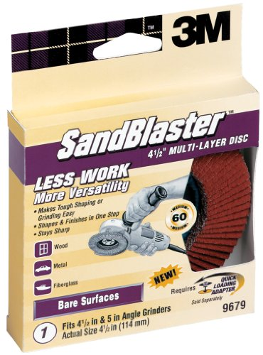 3M SandBlaster 9679 4-1/2-Inch 60-Grit Right Angle Grinder Multi-Layer Disc