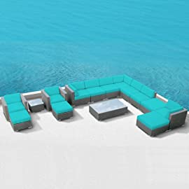 Luxxella Patio Bella 15pcs Modern Turquoise Outdoor Furniture All Weather Wicker Couch Sofa Set