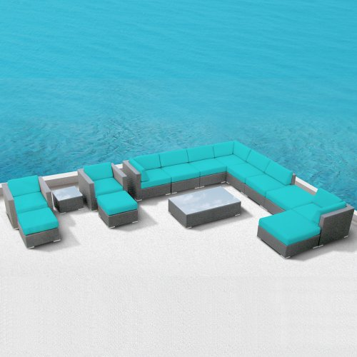 Luxxella Patio Bella 15pcs Modern Turquoise Outdoor Furniture All Weather Wicker Couch Sofa Set image