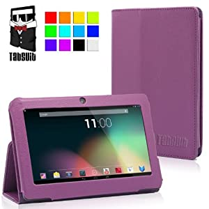 TabSuit® 7'' PU Leather Case Stand Cover for Dragon Touch Y88/Y88X Android Tablet PC, NeuTab N7/ N7 Pro, Chromo, ProntoTec, iRulu, Zeepad, Alldaymall w/ Dual Camera (Purple) (Please check the product list in the description)