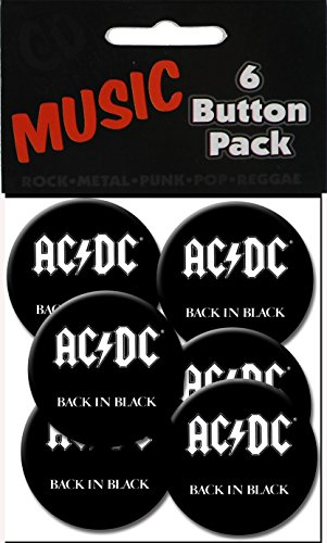 """C&D Visionary AC/DC Back in Black 1.25"""" Button (6-Piece) - 1"""