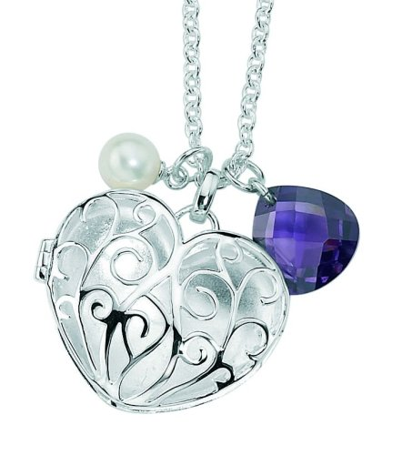 Elements Sterling Silver Ladies' N2509 Purple Cubic Zirconia and Freshwater Pearl Filigree Heart Charm Necklace