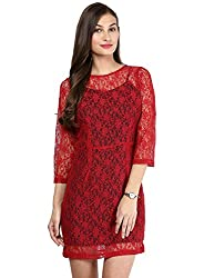 Besiva two layered red lace dress