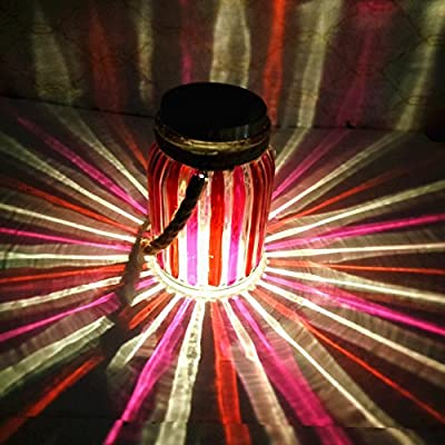 Red Stripe Copper Finish Light Cap Solar Glass Jar Sogrand Small Glass Jars with Lids Hanging Lights Hanging Solar Lights Outdoo