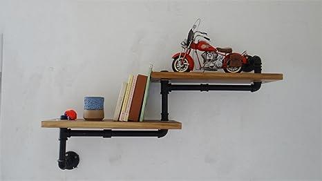 LIUYU Tubi in Ferro Librerie Racchette da parete Fiori in legno massiccio Racchetti Negozi Negozi Deposito di magazzino