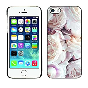 Omega Covers - Snap on Hard Back Case Cover Shell FOR Apple iPhone 5 / 5S - Pink White Roses Spring Nature